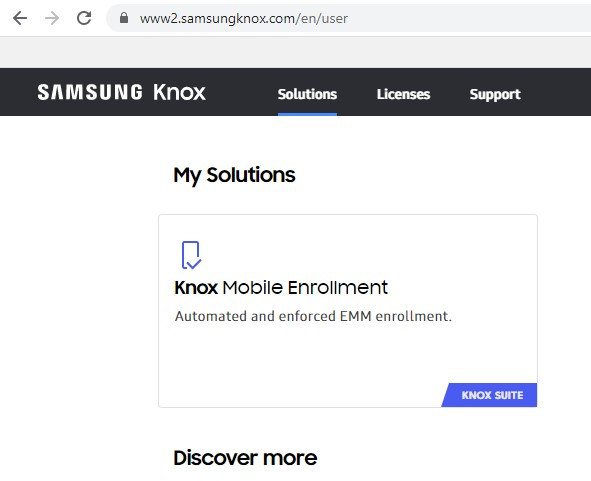 Knox dashboard with a KME option