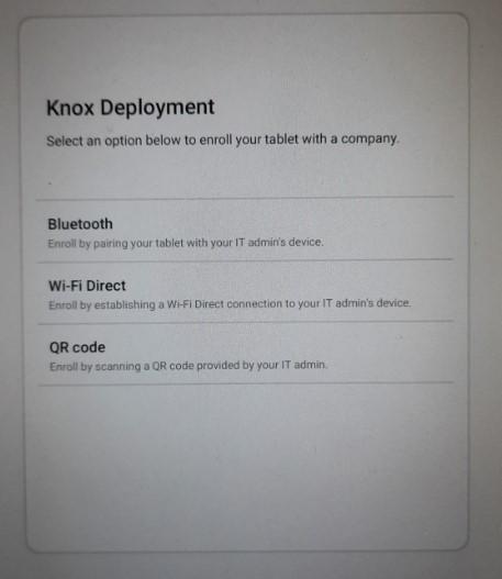 Knox enrollment menu on Android