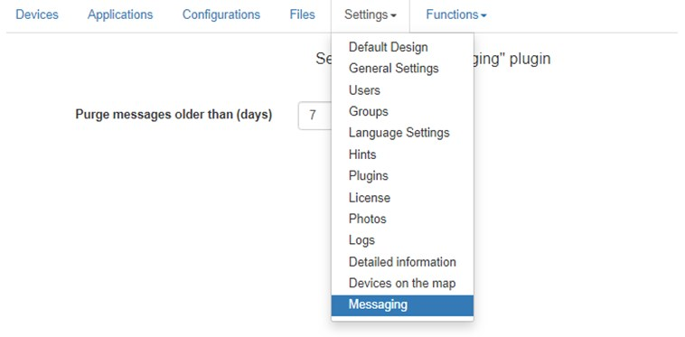 Headwind MDM plugin entry in Settings menu
